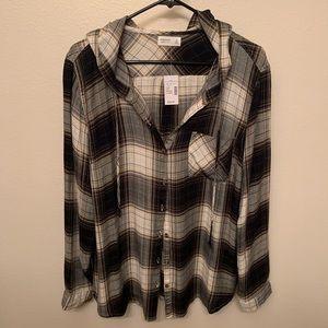 Button down hooded shirt